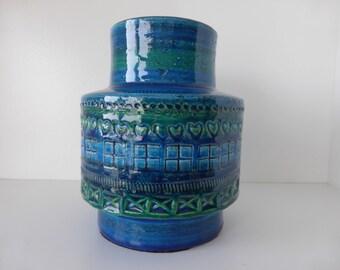 Bitossi Vase Rimini Blue Aldo Londi Italy 1960.
