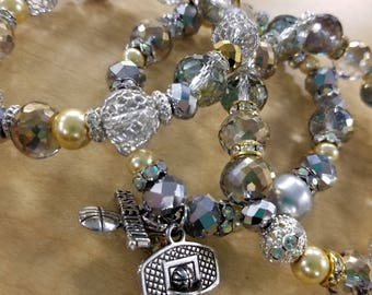 I love Basketball Glitzy Beaded Bracelet Set of 3