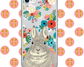 Pandii Rabbit Flowers iPhone Case 7, 7 Plus, 8, 8 Plus, 6, 6 Plus, 6s, 6s Plus, 5, 5s, SE
