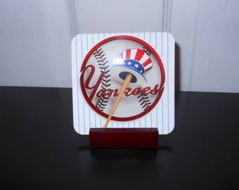 New York Yankees Coaster Set with Stand
