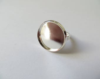 5 supports silver cabochon ring 16mm