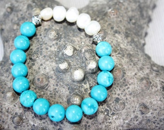 Bracelet (natural pearls and turquoise)