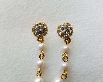 Simple Gold And Pearl Drop Earrings