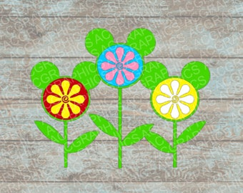 Mickey Mouse Flowers SVG, DXF, JPEG, and Studio Downloads
