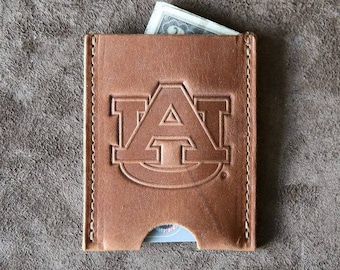 The Officially Licensed Auburn Jefferson Personalized Fine Leather Card Holder Wallet
