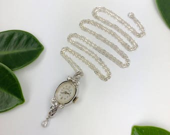 Vintage 14K White Gold Hamilton Timepiece Necklace with Sterling Silver 31 inch Chain and 6mm Swarovski Crystal Charm