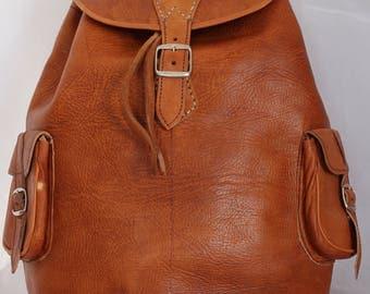 068 Large Vintage Style Real Genuine Leather Bag Rucksack Backpack Brown