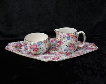 Lord Nelson Ware Marina Chintz Creamer, Sugarbowl and Tray