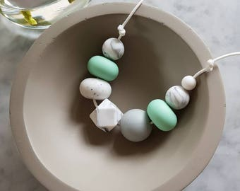 Mint and marble sensory necklace