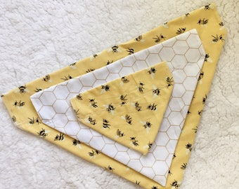 Handmade Bee and Honeycomb Bandana for Dogs and other pets // XS - XL Sizes // Reversible Bandana