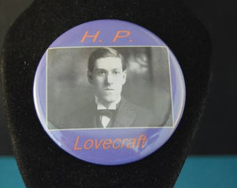 steampunk alchemist h p lovecraft button pinback pin badge large 2 1 4 brand new author