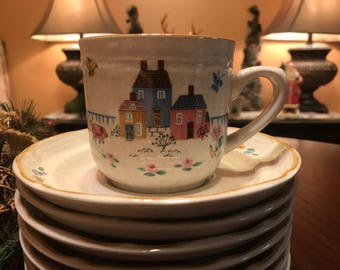 Vintage Flat Cup & Saucer Set in Heartland by International