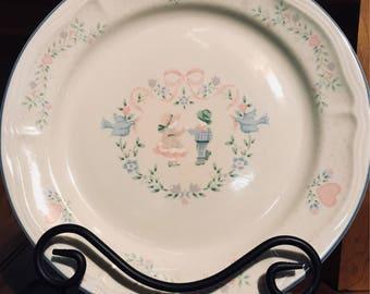 Vintage Tienshan Stoneware Dinner Plates in Memories Pattern