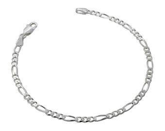 "Sterling Silver Figaro Bracelet 3mm 6.5"" 7"" 7.5"" inches"