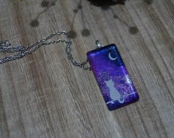Glass Pendant Necklace - Cat