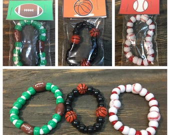 Sports party favors.Baseball party favors.Football party favors.Basketball party favors.Basketball-football-baseball bracelet