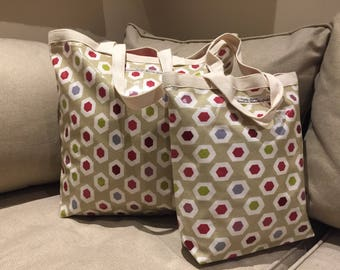 Lunch Tote Bag in honeycomb oilcloth fabric