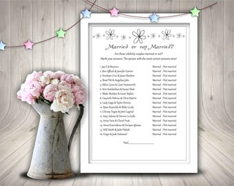 Bridal Shower Celeb Married Or Not Game, Bridal Shower, Printable Bridal Shower Game, Instant Download