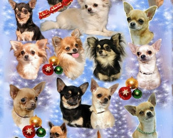Chihuahua Dog Christmas Gift Wrapping Paper.