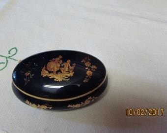 Vintage Porcelain Trinket/Ring Dish/Box with Lid with Romantic Couple, marked FM Limoges, France, Oval, Blue, Gold, Tiny, Engagement