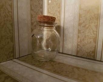 Small Honeypot Glass Jar with Cork Lid