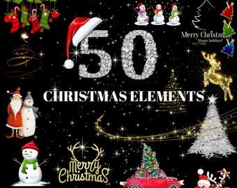 50 Christmas Elements PNG DIGITAL FILES