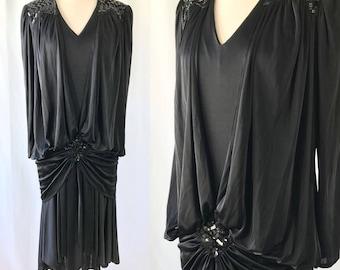 Art Deco Style Black Dress    Little Black Dress    1980s Does 1920s    Sequin Flapper Dress    Vintage Clothing