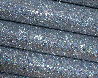 Holographic Silver Chunky Glitter Fabric Sheet Premium Quality