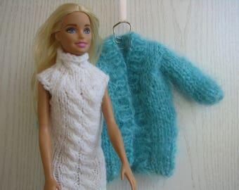 Set of white dress and aquamarine coat for Barbie knitted handmade