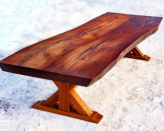 Rustic Table | Solid Wood Table | Dining Table Legs Wood | Slab Table |  Wooden