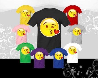 Face Throwing a Kiss Emoji T-shirt (U+1F618), Emoji Tee, Halloween shirt, Emoji shirt, Halloween Present