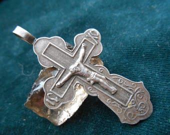 Beautiful vintage  sterling silver cross, Jesus Christ Crucifix.