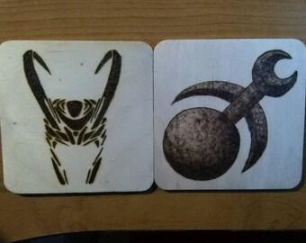 Hand-burned cup coasters: Slaneesh, Loki. Pyrography