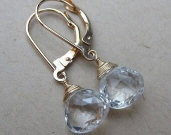 White topaz earrings, gold filled lever back drop earrings