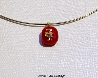Red and gold glass pendant