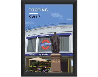 Tooting Underground Station SW17 - Giclée Art Print - South London Poster