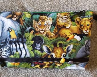 Handmade Animal print clutch