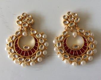 Kundan Chandbali earrings with red meenakari or enamel