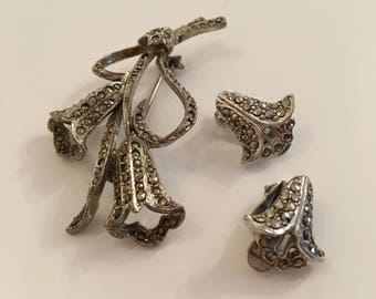 Vintage Marcasite Flower Brooch and clip-on Earrings