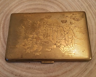 Vintage unusual Jersey Map gold tone cigarette case