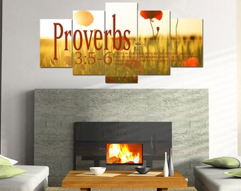 Proverbs 3:5-6 #53 NIV Trust in the Lord Bible Verse Canvas | Christian Canvas | Scripture | Religious | Wall Art | Home Decor Paintings