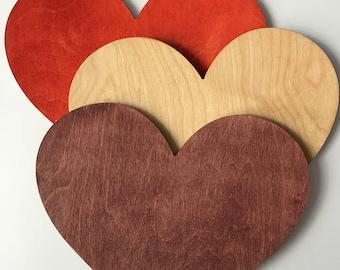 Heart shape wooden table coaster, 30 cm