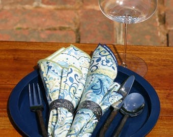Paisley rolled hem dinner napkins--blue accent color