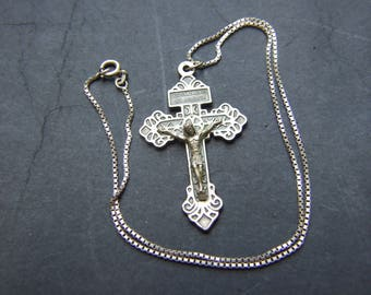 Vintage Sterling Silver Chain with Silver Plated Crucifix
