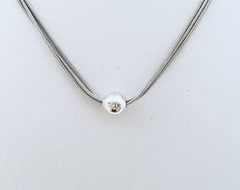 Triple Snake Chain Minimalist Solitaire Bead Sterling Silver 925 Italy Chain Necklace