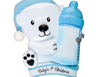 Baby Bear Holding Bottle - Blue Personalized Christmas Ornament