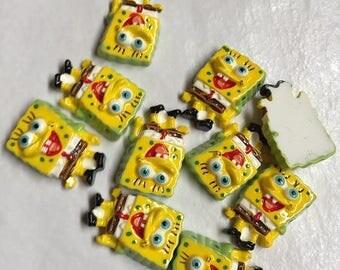 50 sponge man resin cabochon approx 25x18x8mm
