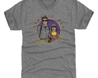 Stranger Things Men's Premium T-Shirt | Tv Show Steve Harrington & Dustin Henderson Themed Apparel | Steve And Dustin Dynamic Duo WHT