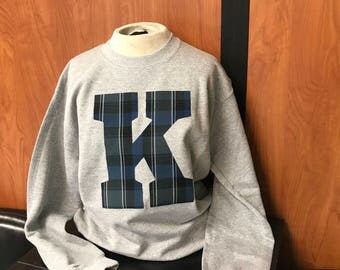 Blue plaid Ky on crew neck sweatshirt