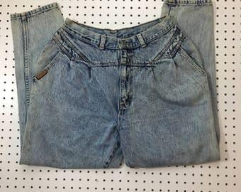 P.S. Gitano Vintage High Waisted Denim- Acid Wash Mom Jeans